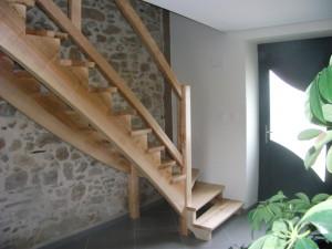 Escalier contre balancé quart tournant